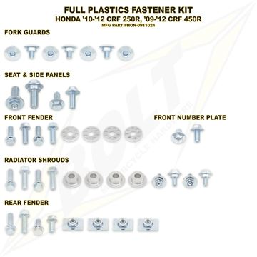Afbeeldingen van Full Plastics Fastener Kit CRF 450 13-, CRF 250 14-