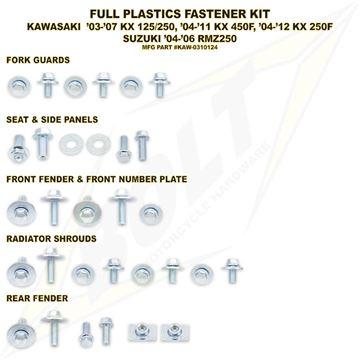 Afbeeldingen van Full Plastics Fastener Kit KX 03-07, KXF 250/450 04-11