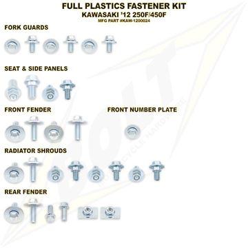 Afbeeldingen van Full Plastics Fastener Kit KXF 250 13-, 450 12-