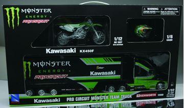 Afbeeldingen van Gift set Truck + Motor 1:12 + Helm Kawasaki Monster