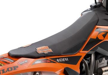 Afbeeldingen van ktm77707940050//Factory seat cover//125/150 SX 11-15, 250 SX 11-16, SX-F 11-15, SMR 12-14, EXC 12-16