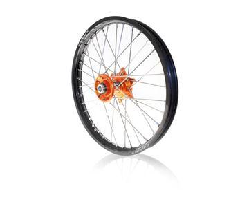Picture of ART complete front wheel SX/SXF 2003/2014 EXC 2003/15- 21x1.60 black rim/orange hub KTM SX/SX-F