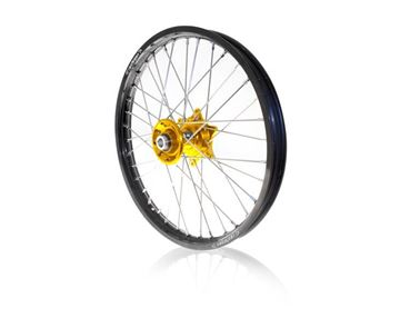 Picture of ART complete front wheel RMZ250 07/17- RMZ450 05/17-  21x1.60 black rim/gold hub Suzuki RM-Z
