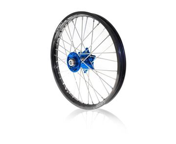 Picture of ART complete front wheel fc/tc 2014 fe/te 2014/15  21x1.60 black rim/blue hub Husqvarna FC/TE & FE/TE