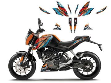 Afbeeldingen van DECAL KIT BLACKBIRD ONERACE KTM DUKE 125 '16