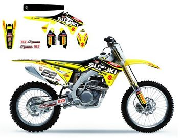 Afbeeldingen van DECAL KIT MET ZADELOVERTREK BLACKBIRD REPLICA 2016 SUZUKI RM125/250 01-08 MXGP
