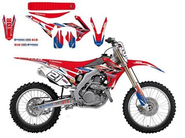 Afbeeldingen van DECAL KIT MET ZADELOVERTREK BLACKBIRD REPLICA 2016 HONDA CRF250R 14-16/450R 13-16 TEAM HRC