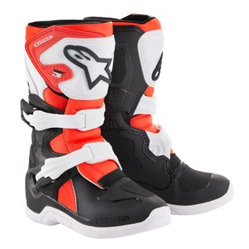 Picture of kinderlaarzen tech3s alpinestars black white red fluor