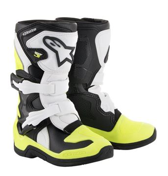 Picture of kinderlaarzen tech3s alpinestars black white yellow fluor
