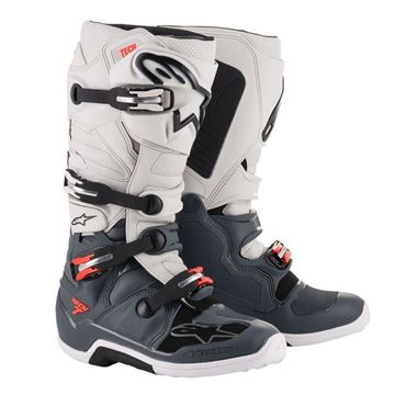 Afbeeldingen van TECH 7  MX BOOT - Dark&Light Grey/Red