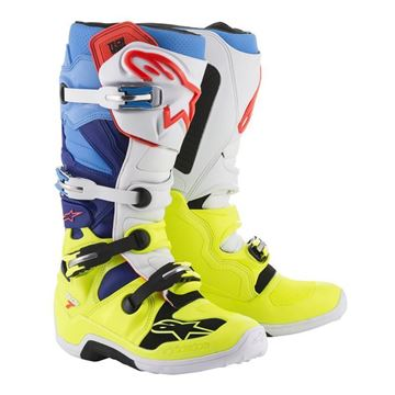 Afbeeldingen van TECH 7  MX BOOT - Fluo Yellow/White/Blue Cyan