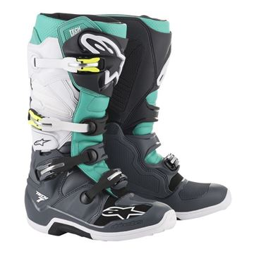 Afbeeldingen van TECH 7  MX BOOT - White/Grey/Teal