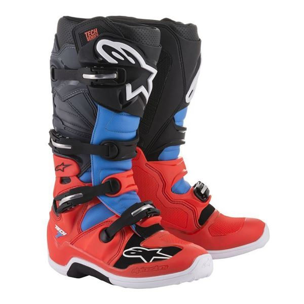 Afbeelding van TECH 7  MX BOOT - Fluo Red/Cyan/Black