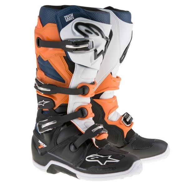 Afbeelding van TECH 7  MX BOOT - Black/Orange/White/Blue