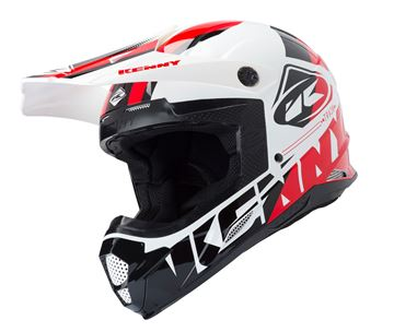 Picture of ADULT TRACK HELMET WHITE BLACK RED