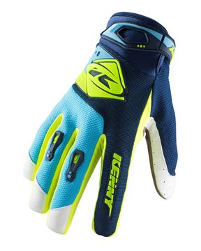 Picture of ADULT TRACK GLOVES NAVY CYAN NEON YELLOW