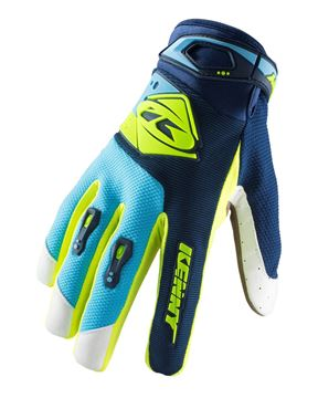 Afbeeldingen van KIDS TRACK GLOVES NAVY CYAN NEON YELLOW