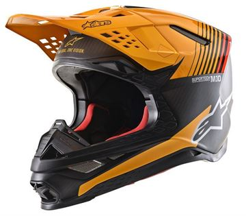 Picture of Supertech M10 Dyno Helmet - Black/Carbon/Orange - Alpinestars