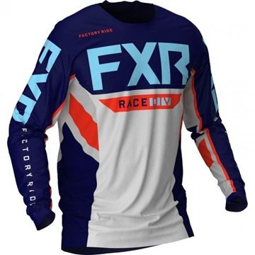Picture of Podium Off-road shirt - Grijs/Navy/Nuke/Hemels Blauw - FXR