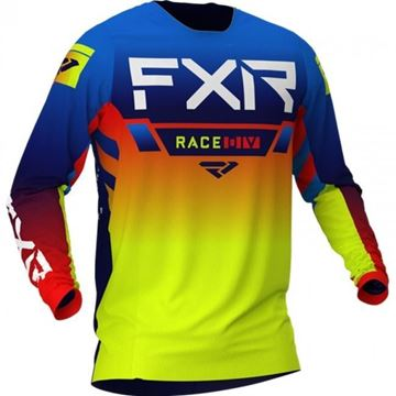 Picture of Youth Pro-stretch Helium cross shirt - Blauw/Hi-Vis/Rood - FXR