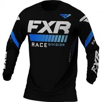 Picture of Youth Pro-stretch Revo cross shirt - Zwart/Blauw - FXR